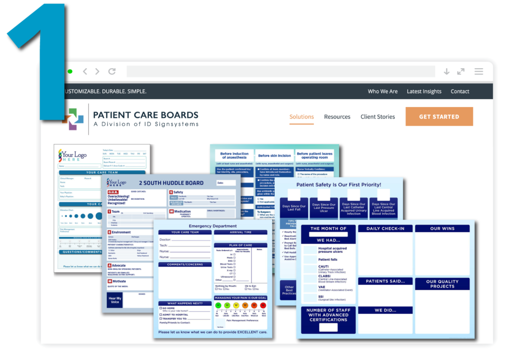 Step One: Choose a template for your new healthcare communication boards