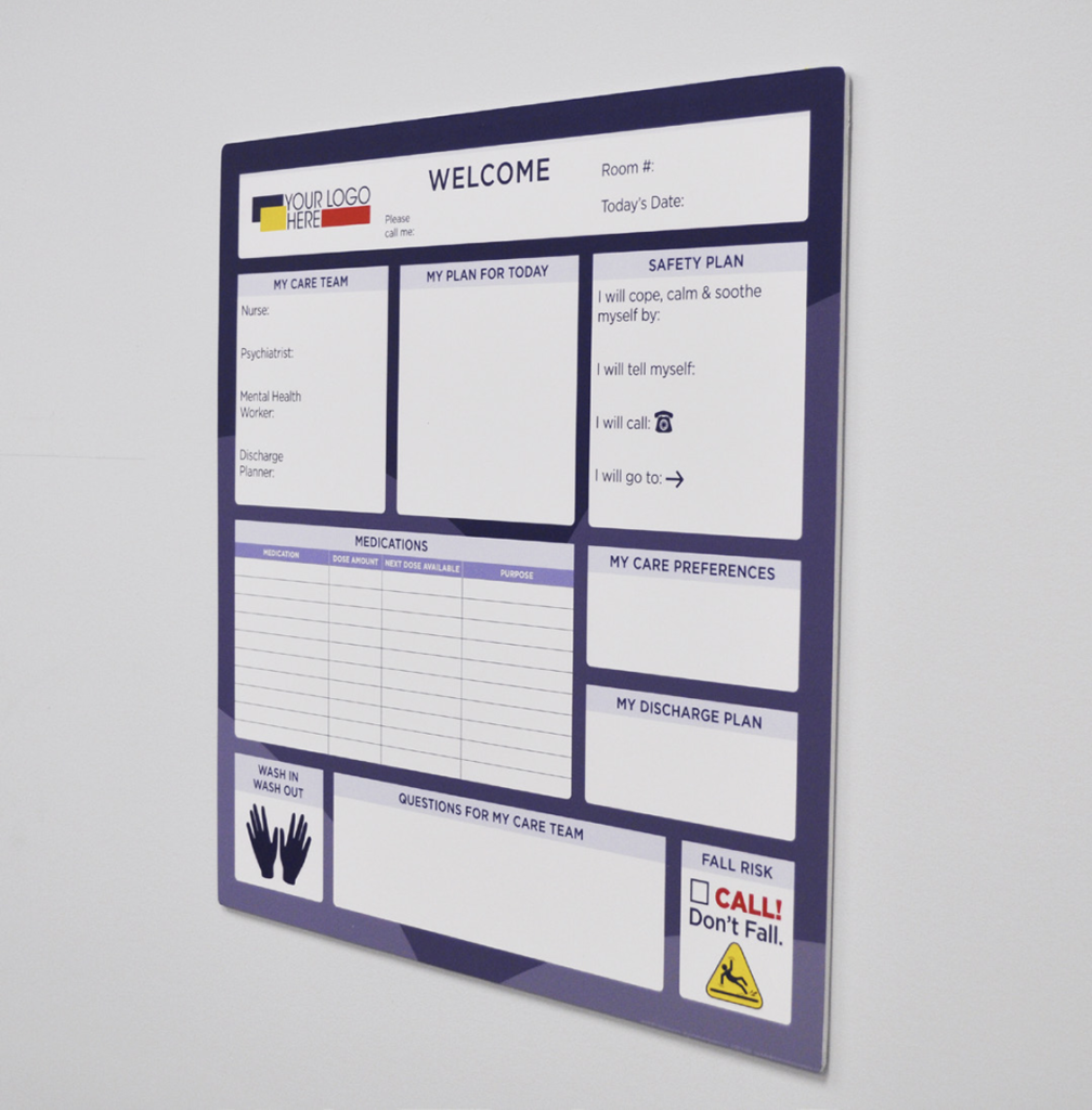 Frameless behavioral board healthcare communication solutions