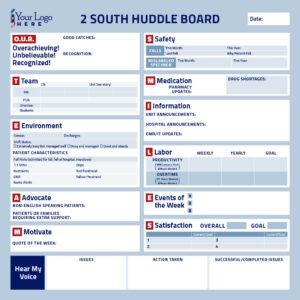 Customized Hospital Huddle Communication Board Sample