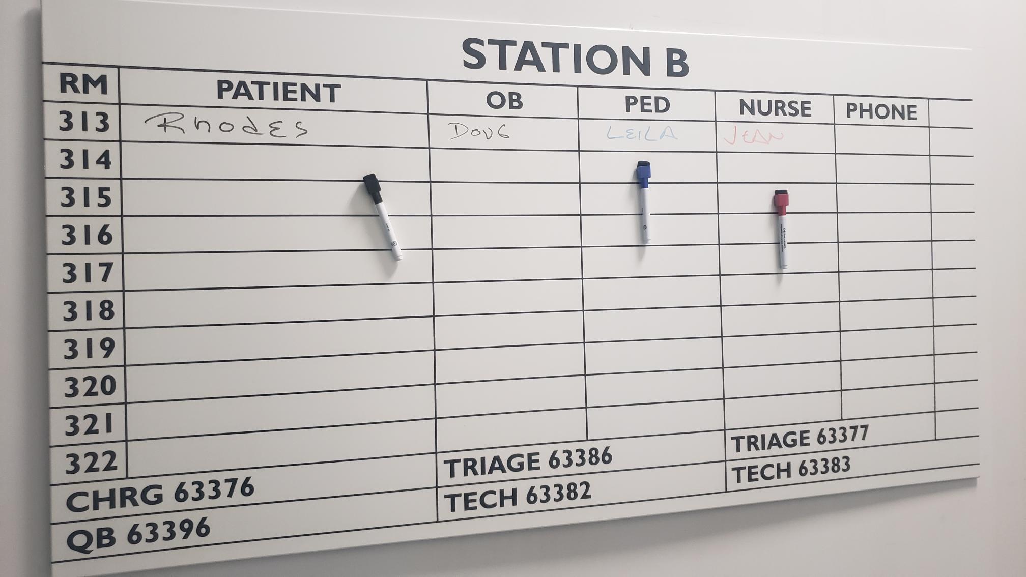Magnetic Dry Erase Hospital Communication Board